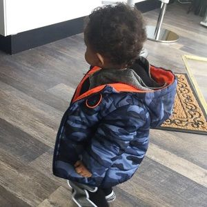 Carter's blue camp puffer jacket.